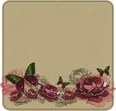 Blom- bakgrund för tappning med rosor också vektor för coreldrawillustration Royaltyfria Bilder