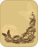 Blom- bakgrund för tappning med rosor, vektor Royaltyfri Fotografi