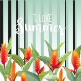 Blom- bakgrund för tropisk sommar Modell för tappningvektorblommor stock illustrationer