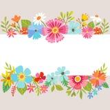 Blom- bakgrund för vår med tecknad filmblommor Royaltyfria Bilder