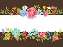 Blom- bakgrund för vår med tecknad filmblommor Arkivfoto