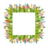 Blom- bakgrund för vektor med påskbeståndsdelar och blommor stock illustrationer