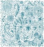 Blom- bakgrund för klotter Royaltyfria Bilder