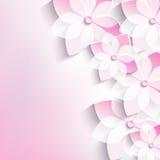 Blom- bakgrund, hälsningkortet, 3d blommar sakur stock illustrationer
