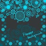 Blom- bakgrund i skuggor av blått med utrymme för text Royaltyfri Foto