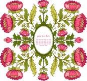 Blom- bakgrund. Inbjudankort med blommaramen. Royaltyfria Foton