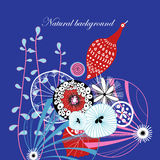 Blom- bakgrund med fågeln Arkivbilder