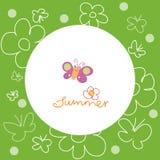 Blom- bakgrund med fjärilen och blomman Fotografering för Bildbyråer