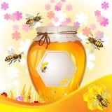 Blom- bakgrund med honung Royaltyfri Fotografi
