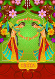 Blom- bakgrund med indiska damer för dans som visar oerhörda Indien royaltyfri illustrationer