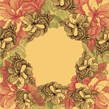 Blom- bakgrund med rosor, hand-teckning också vektor för coreldrawillustration Royaltyfria Bilder