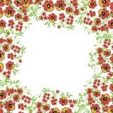 Blom- bakgrund med sidor, virvlar traditionell prydnadryss Sömlös modell för vektor i Hohloma stil Fotografering för Bildbyråer