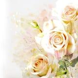 Blom- bakgrund med vattenfärgbuketten Arkivbild