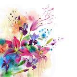 Blom- bakgrund med vattenfärgliljan Fotografering för Bildbyråer