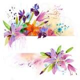 Blom- bakgrund med vattenfärgliljan Arkivbilder