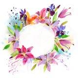 Blom- bakgrund med vattenfärgliljan Royaltyfri Bild