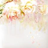 Blom- bakgrund med vattenfärgro Royaltyfria Foton
