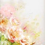 Blom- bakgrund med vattenfärgro Royaltyfri Foto