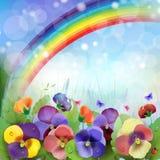 Blom- bakgrund, regnbåge Arkivfoto