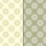 Blom- bakgrunder för olivgrön gräsplan mönsan den seamless seten Royaltyfri Foto
