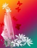 blom- bakgrundsfjäril stock illustrationer