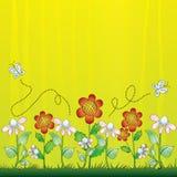 blom- bakgrundsfjärilar royaltyfri illustrationer