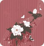 blom- bakgrundsfjärilar Royaltyfri Fotografi