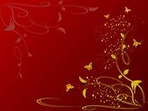 blom- bakgrundsfjärilar Stock Illustrationer