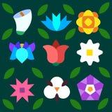 Blom- bakgrundsmodell med blad och kronblad Fotografering för Bildbyråer