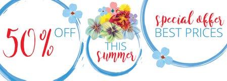 Blom- baner för sommarförsäljning med text på vit bakgrund med härliga blommor Konstnärliga designvektorbaner som hälsar Arkivfoton