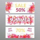 Blom- baner för sommarförsäljningsrengöringsduk Arkivbilder