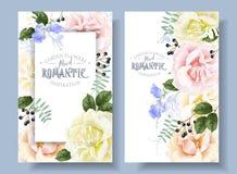Blom- baner för vektortappning med trädgårds- rosor stock illustrationer