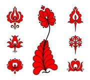 Blom- beståndsdelar för traditionell ungersk broderi royaltyfri bild