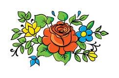 Blom- beståndsdelar med den röda ron Arkivfoton