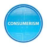 Blom- blå rund knapp för Consumerism stock illustrationer