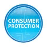 Blom- blå rund knapp för konsumentskydd stock illustrationer