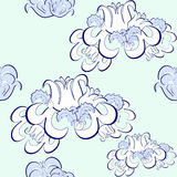 Blom- blått för grafisk modell, vit Sömlös vektorillustration Arkivbild