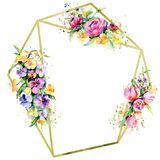 Blom- botaniska blommor f?r buketter Upps?ttning f?r vattenf?rgbakgrundsillustration Fyrkant f?r ramgr?nsprydnad vektor illustrationer