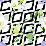 Blom- botaniska blommor f?r vit freesia Upps?ttning f?r vattenf?rgbakgrundsillustration Seamless bakgrund m?nstrar stock illustrationer