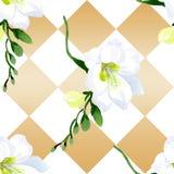 Blom- botaniska blommor f?r vit freesia Upps?ttning f?r vattenf?rgbakgrundsillustration Seamless bakgrund m?nstrar vektor illustrationer