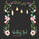 Blom- bröllopbåge för vattenfärg med hängande lampor för brud- design royaltyfri illustrationer