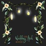 Blom- bröllopbåge för vattenfärg med hängande lampor för brud- design vektor illustrationer