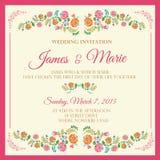 Blom- bröllopinbjudan Royaltyfri Bild