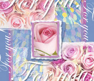 Blom- bröllopinbjudan Hand dragen tappningcollageram med rosor Semestra kortet med ramen, rosa rosor, text Arkivbild