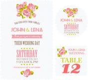 Blom- bröllopinbjudan med rosor vektor illustrationer