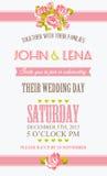 Blom- bröllopinbjudan med rosor royaltyfri illustrationer