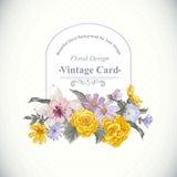 Blom- bukett för tappning, botaniskt hälsningkort Royaltyfri Fotografi
