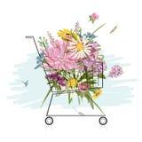 Blom- bukett i shoppingvagnen för din design stock illustrationer