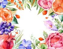 Blom- bukett-ram för färgrik vattenfärg med rosor, sidor, granatäpple, orkidér, calla, druvor royaltyfri illustrationer