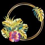 Blom- dekor med tropiska sidor, blommor och den guld- runda ramen vektor illustrationer